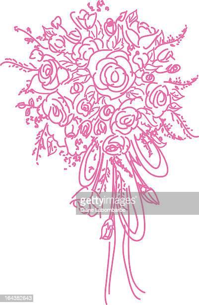 Scribbled Pink Wedding Bouquet