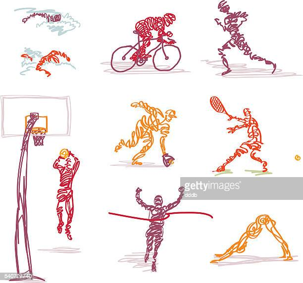 scribbled summer games events - the olympic games stock illustrations