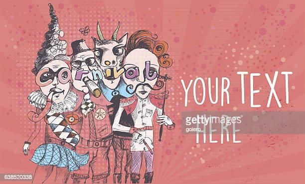 illustrations, cliparts, dessins animés et icônes de scribbled surreal carnival people on vintage background - quatre personnes