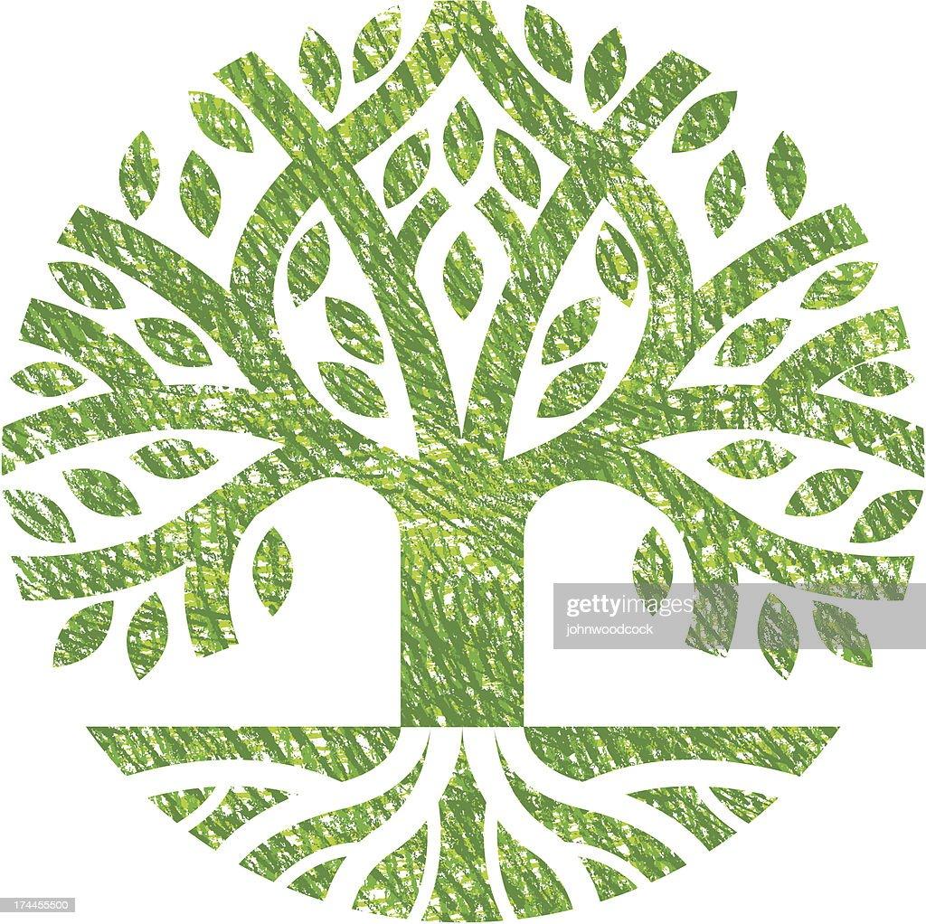 Scribbled tree symbol : stock illustration