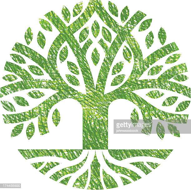 scribbled tree symbol - root stock illustrations, clip art, cartoons, & icons