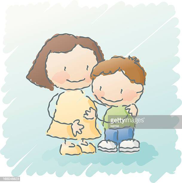 scribbles: baby brother - kids hugging mom cartoon stock illustrations