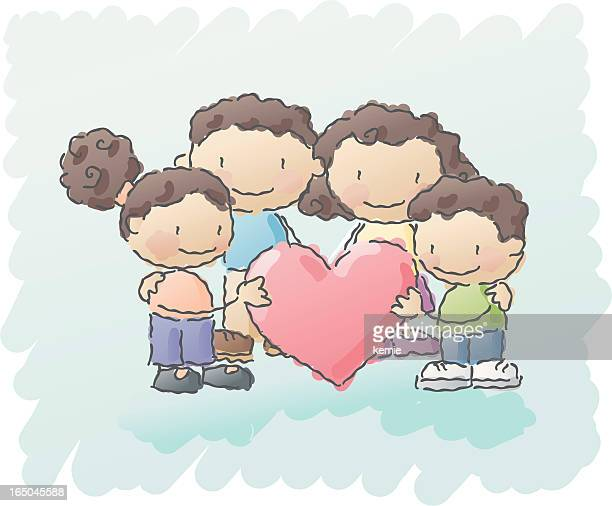 scribbles: family love 2 - kids hugging mom cartoon stock illustrations