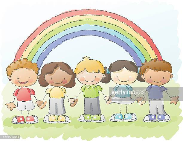 scribbles: rainbow kids
