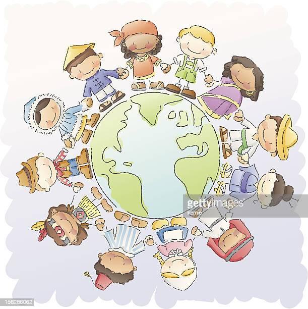 ilustraciones, imágenes clip art, dibujos animados e iconos de stock de scribbles: pequeña del mundo - diversidad cultural