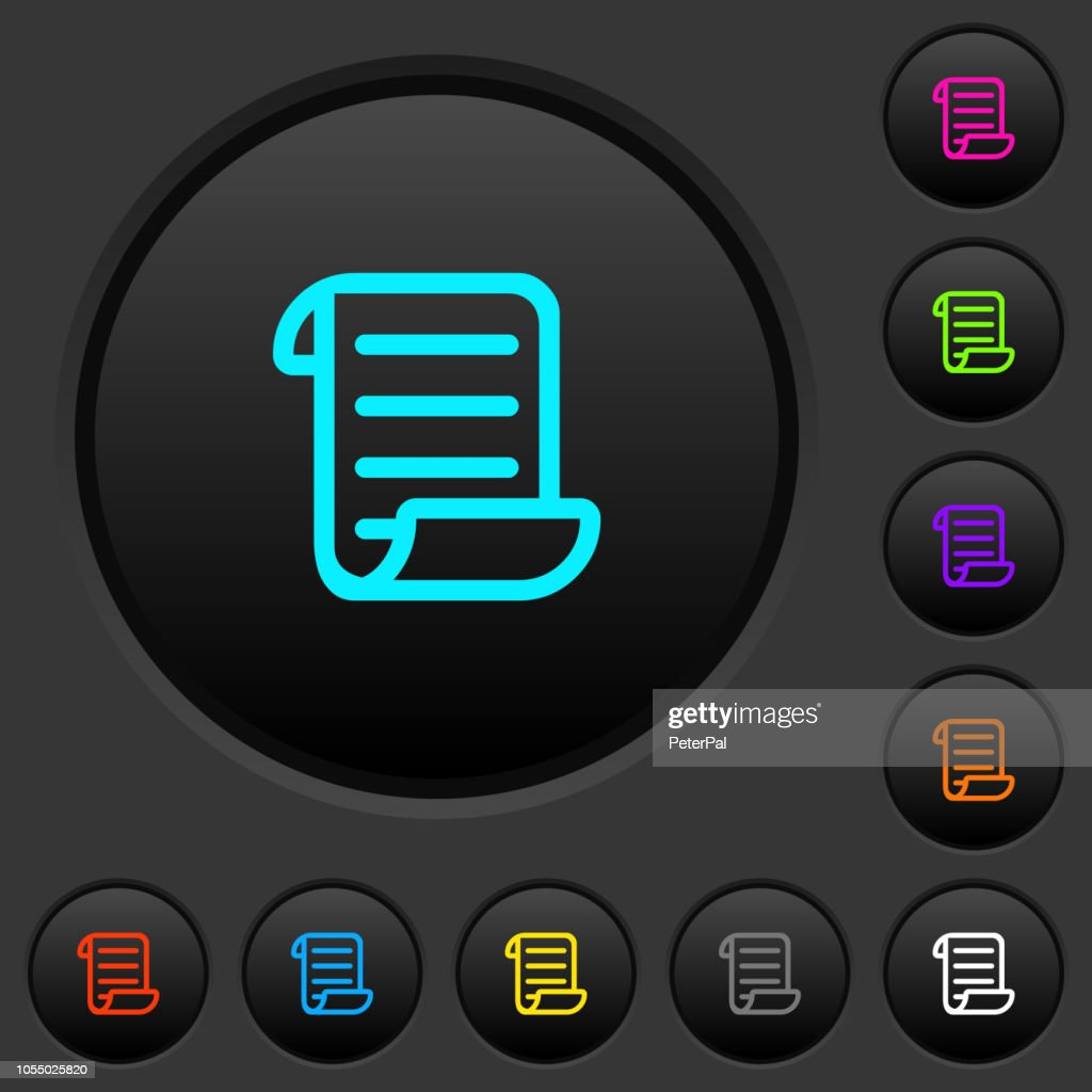 Script code dark push buttons with color icons