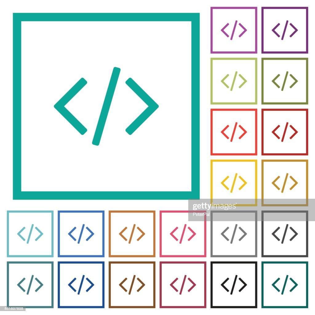 Script code flat color icons with quadrant frames