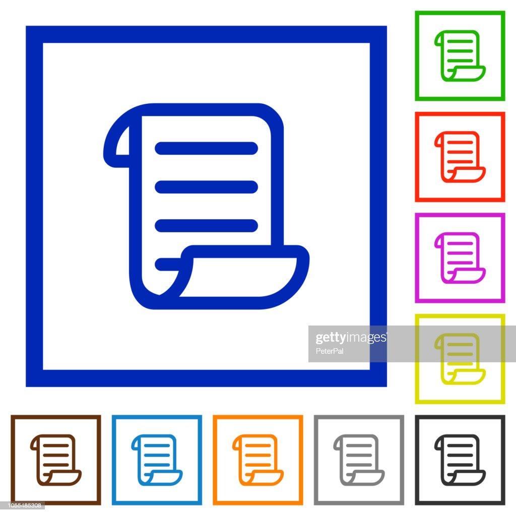 Script code flat framed icons