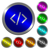 Script code luminous coin-like round color buttons