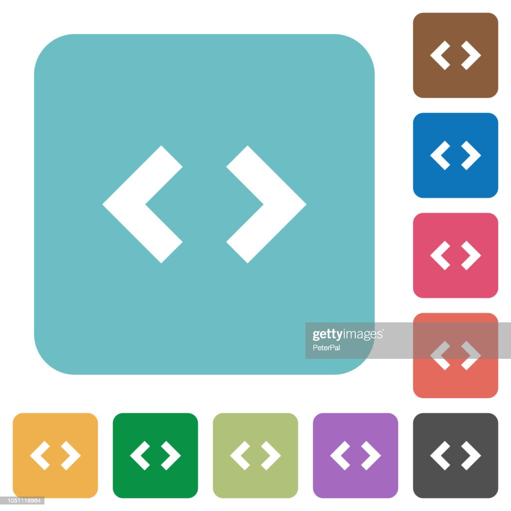 Script code rounded square flat icons