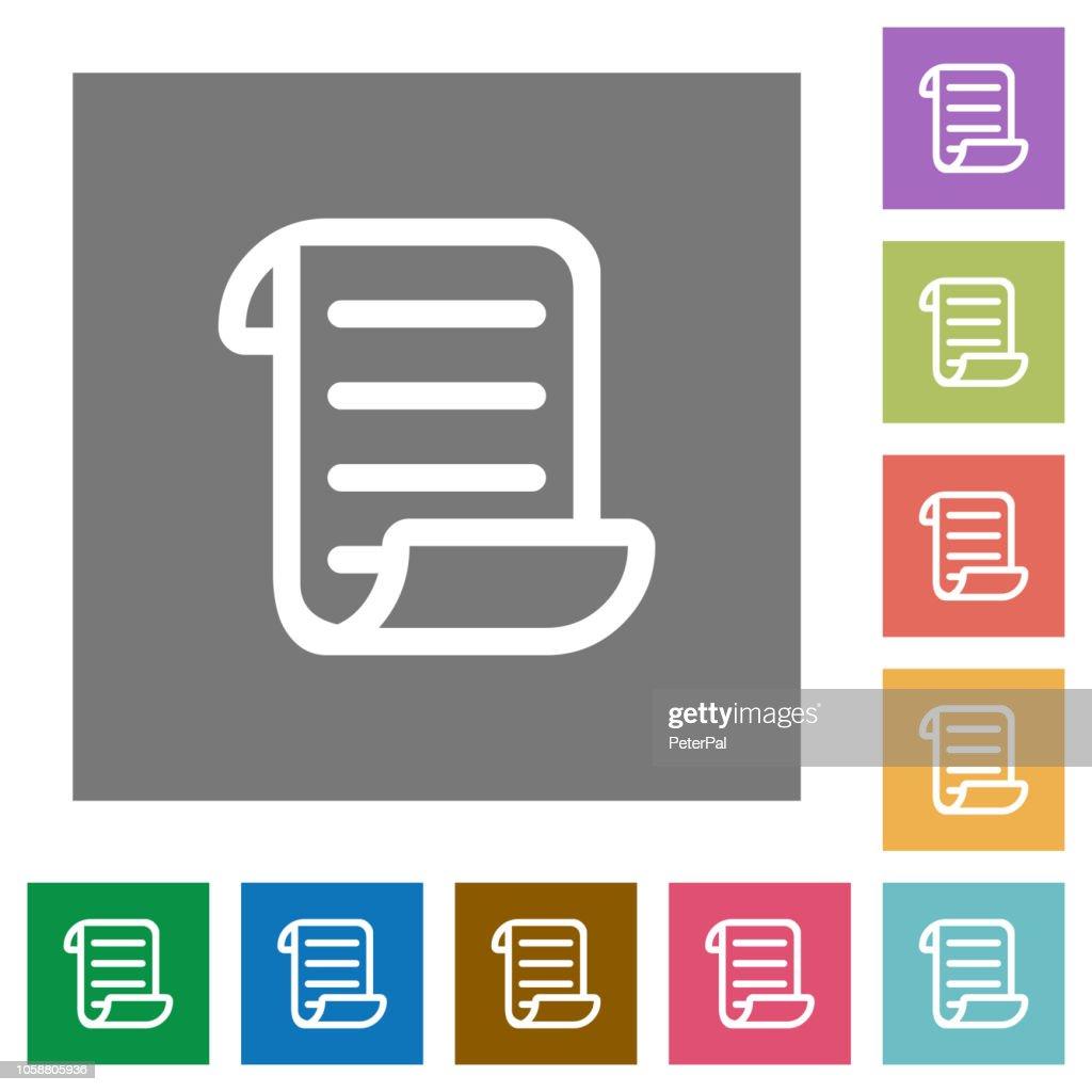Script code square flat icons