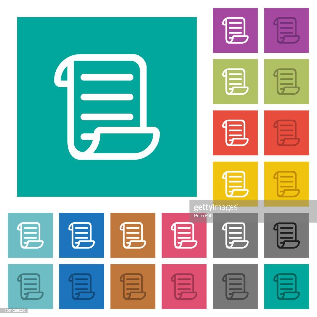 Script code square flat multi colored icons