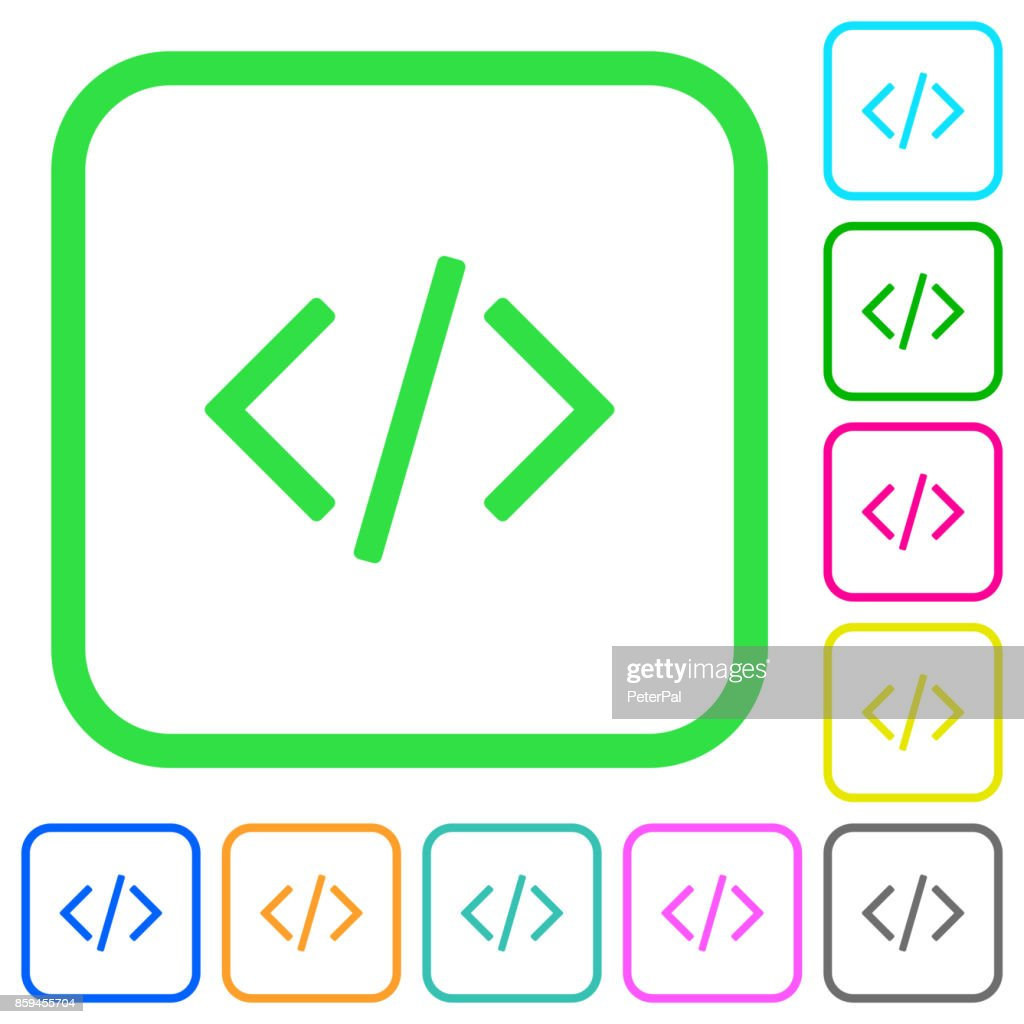 Script code vivid colored flat icons icons