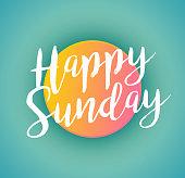 script typographic happy sunday sign