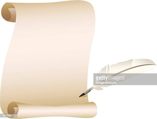 Scroll and Feather Quill