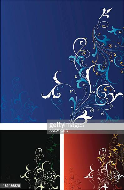 scroll background panel - royal blue background stock illustrations