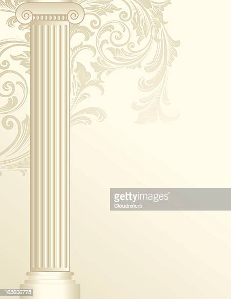 scroll colulmn - classical greek style stock illustrations