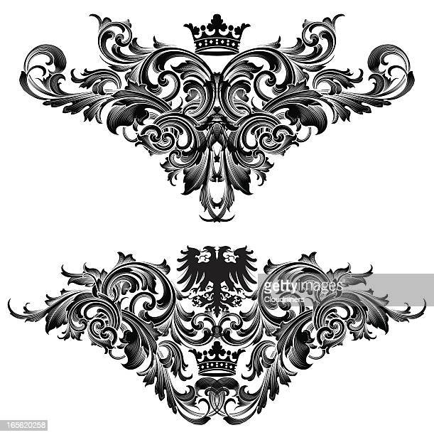 scroll dividing elements - gothic style stock illustrations