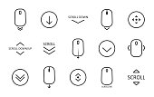 Scroll down icon. Scrolling mouse symbol for web design isolated on white background. Modern vector illustration