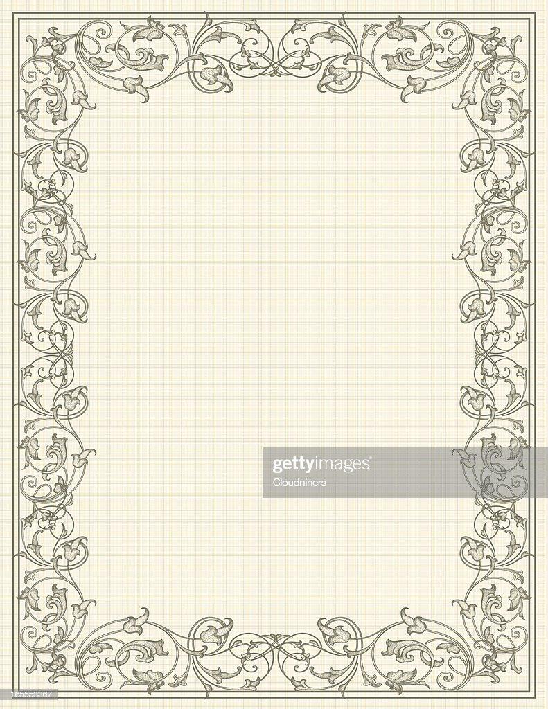 Scroll Linen Frame : Stock Illustration