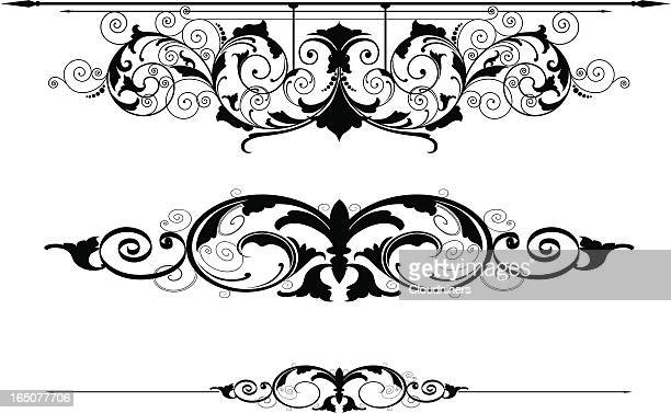 scroll rule lines - embellishment stock illustrations