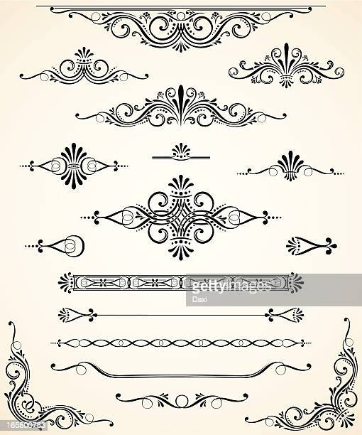 scroll set - dividers, ornaments and corners - decoration stock illustrations