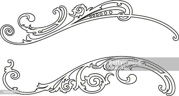 scroll - art nouveau stock illustrations, clip art, cartoons, & icons