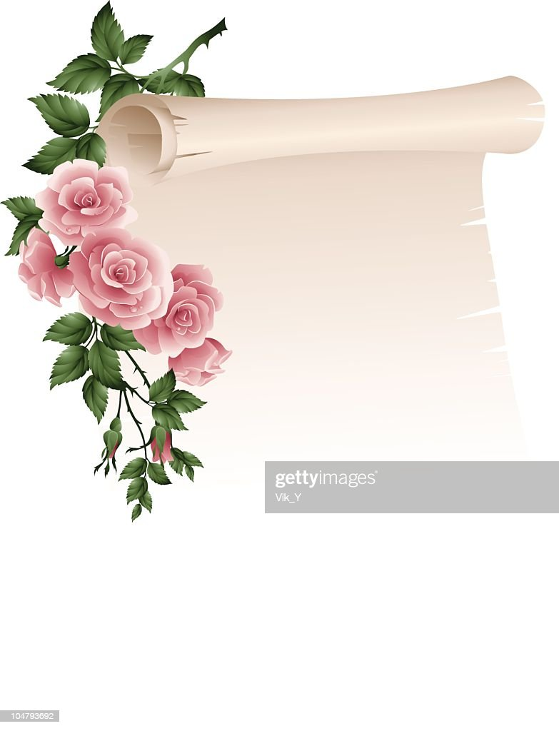 Scroll with roses fades into white background
