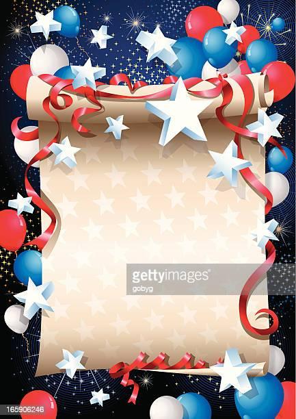 scrolled paper - american celebration - scrollen stock illustrations