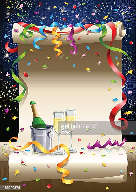 scrolled paper - celebration with champagne - scrollen stock illustrations