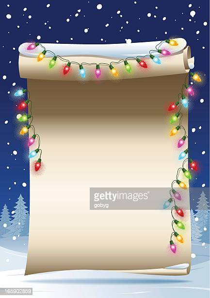 scrolled paper - christmas lights - scrollen stock illustrations