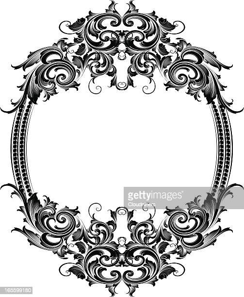 scrolling oval frame - gothic style stock illustrations, clip art, cartoons, & icons