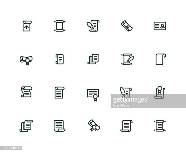 scrolls and papers icon set - thick line series - tradition stock illustrations