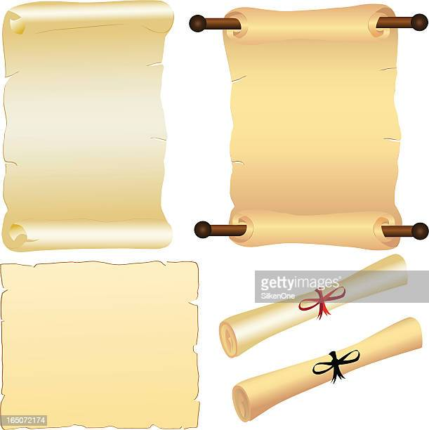 scrolls and parchment - rolled up stock illustrations