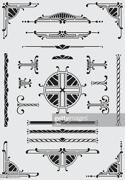 scrolls, dididers & corners - illustration - art deco stock illustrations