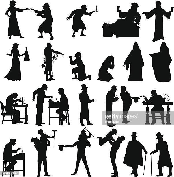 ebenezer scrooge - 19. jahrhundert stock-grafiken, -clipart, -cartoons und -symbole