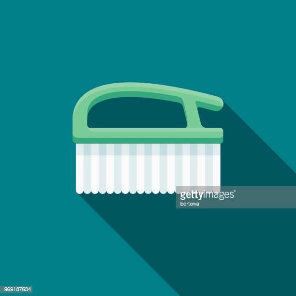 scrub brush flat design springtime icon - scrubbing stock illustrations, clip art, cartoons, & icons