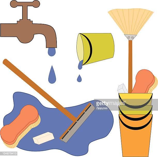 scrub that floor ... (vector) - scrubbing stock illustrations, clip art, cartoons, & icons
