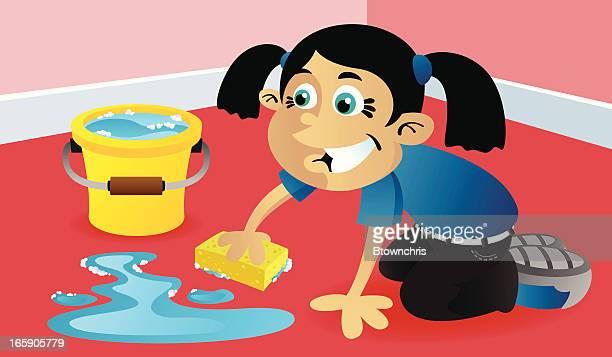 scrub the floor - scrubbing stock illustrations, clip art, cartoons, & icons