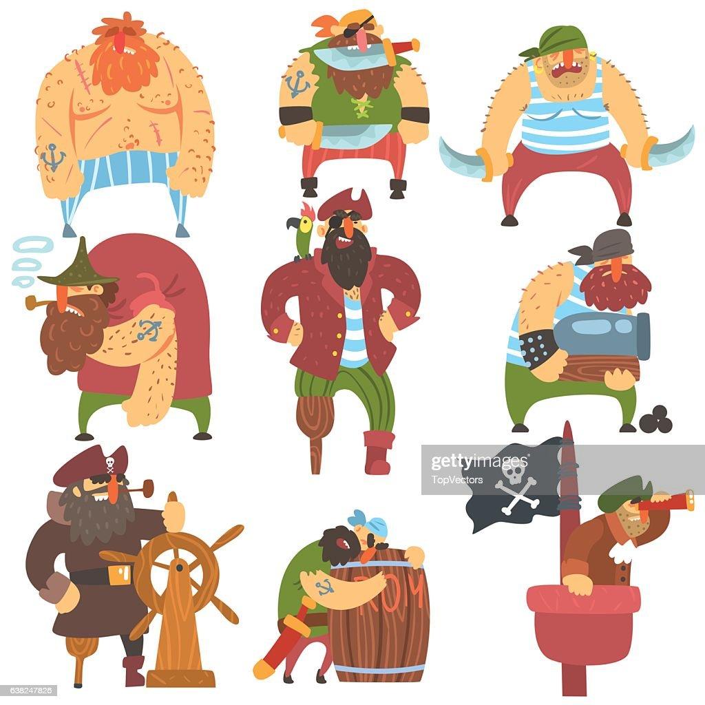 Scruffy Pirates Cartoon Characters Set