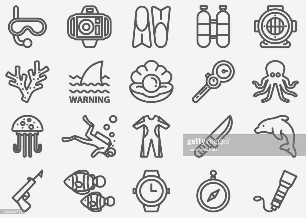 Scuba And Diving Line Icons : stock illustration
