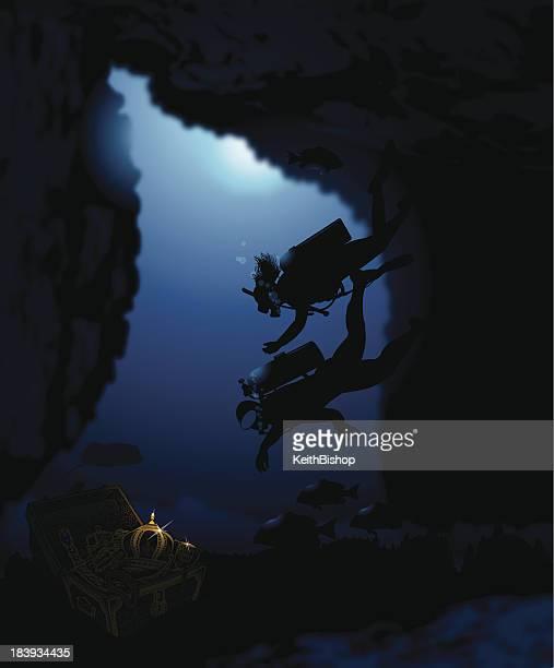 scuba diver couple with sunken pitate treasure - scuba diving stock illustrations