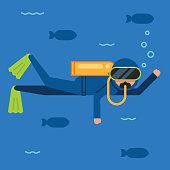 Scuba diver on blue background with fish. Extreme diving sport