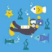 Scuba Diver Photographer , Vector Illustration. Flat Design Elements.