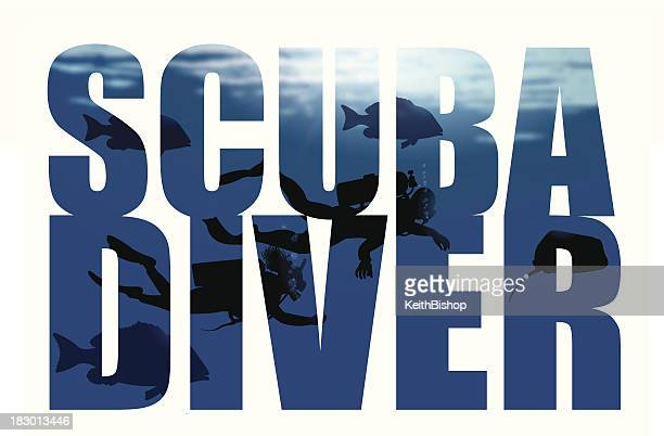 scuba diver - type design - scuba diving stock illustrations