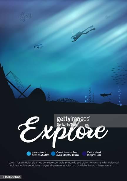 スキューバダイバー水中海洋シーンの背景リーフのポスターを探検 - 水に飛び込む点のイラスト素材/クリップアート素材/マンガ素材/アイコン素材