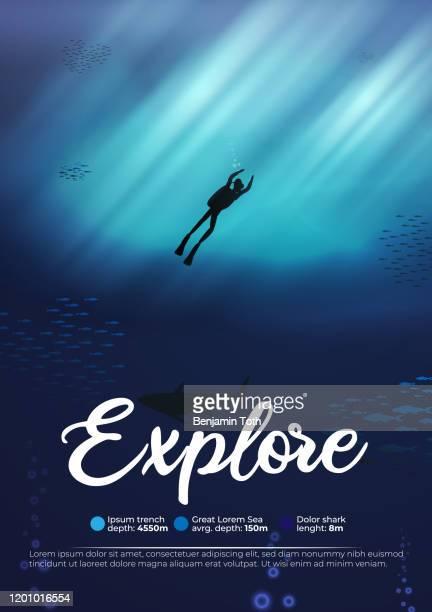 illustrazioni stock, clip art, cartoni animati e icone di tendenza di sfondo della scena oceanica subacquea subacquea delle barriere coralline esplorano il poster - profondo
