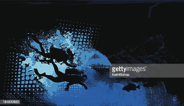 scuba divers background - diving flipper stock illustrations, clip art, cartoons, & icons