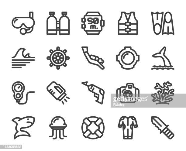 scuba diving and snorkeling - bold line icons - scuba mask stock illustrations