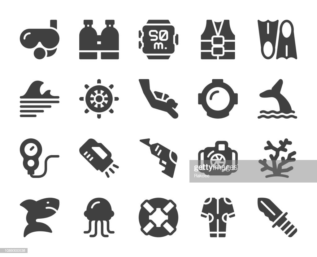 Scuba Diving and Snorkeling - Icons : stock illustration
